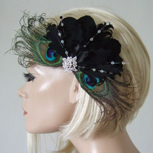 "Bridal Black Peacock and Goose Nagoire Feathers with Crystals ""Caviar"" Fascinator Clip"